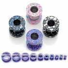 Pair Gauges Colorful Dot Stainless Steel Screwed Ear Tunnels Plugs Expander Punk
