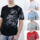 Men's Summer Tattoos Printed Short Sleeve Crew Neck Tee T-Shirt Slim Fit Tops