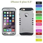 "For 5.5"" iPhone 6 Plus White Hard+Silicone Hybrid Rugged Impact Phone Case Cover"
