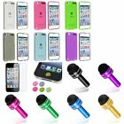 Color Clear TPU Rubber Case+Dust Cap Pen+Matte SP+Sticker For iPod Touch 5 5th