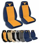 2 Front Texas Longhorn Velvet Seat Covers with 15 Color Options