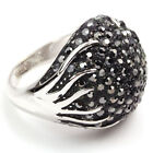 white gold GP jet blak cauliflower swarovski crystal ball cocktail ring z884