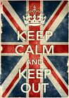 KCV38 Vintage Style Union Jack Keep Calm Keep Out Funny Poster Print A2/A3/A4