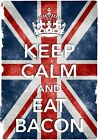 KC42 Vintage Style Union Jack Keep Calm Eat Bacon Funny Poster Print A2/A3/A4
