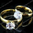 2015 Titanium Stainless Steel 8M CZ Gold Wedding Engagement Ring for Women Mens