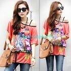 Fashion Women Bohemia Batwing Floral Print Lycra Loose T-shirt Blouse Top L XL