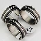 Hot Selling Double Layer Spin Rotate Black Top Stainless steel Mens Ring Jewelry