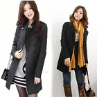 Womens Double-Breasted Wool Blend Frock Coat Warmly Winter Windproof Jacket Slim