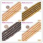 New Round Orange Black Curry Freshwater 7-8mm Pearl GEM Jewelry Making Beads 15""