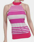 NEW-WOMEN JUNIOR HALTER TUNIC TOP mock neck-HOT PINK- MADE IN USA