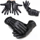 Mens Outdoor Faux Leather Winter Bussell Windproof Warm Cashmere Lining Gloves