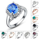 Sapphire Emerald  Clear Crystal Rhinestone 18K White Gold Plated Finger Ring