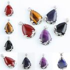 Silver Plated Gems Teardrop Shape Stone Charm Bead Pendant Jewelry Fit Necklace