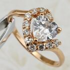 Size 6 7 Cute Sweet Heart White CZ Gems Yellow Gold Filled Women Gift Ring R1974