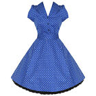 Ladies New Blue Polka Dot Vtg 50s Retro Pinup Rockabilly Party Prom Swing Dress