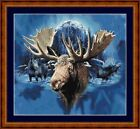 BLUE MOON MOOSE - PDF/PRINT X STITCH CHART 14/18 CT ARTWORK © STEVEN GARDNER