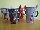 ELECTRIC GUITAR DESIGN COFFEE MUG with matching spoon - Ideal Gift