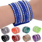 Women's Multilayer Wrap Rivet Rhinestone Suede Cuff Bangle Wristband Bracelet