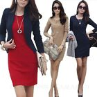 Ladies Dresses Womens Pencil Work Long Sleeve Top Winter Bodycon Dress Size