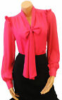 "Pink Crepe chiffon Vtg style Pussy Bow Office Work smart Blouse "" Last One UK 12"