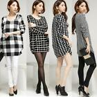 Korean Women's T-Shirt Plaid Checks Dot Crew Neck Long Sleeves Loose Blouse Tops