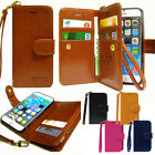 New Double Leather Wallet Diary Book Flip Case Cover For iPhone/Galaxy/LG + Film