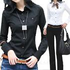 casual Womens Blouse Button Up Cotton Shirt career go to work Top Size 12 10 8 6