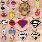 Exquisite Superman/Skull Head/Evil Eye Rolling Stone Chain Choker Necklace Craft
