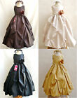 Beautiful Black Brown Champagne Gold pageant recital wedding flower girl dress