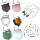 LOT Sword Head Square Gemstone Healing Point Chakra Pendant Chain Necklace Gift