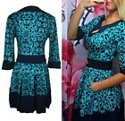 Women's Casual Blue Patchwork Floral Dress Half Sleeves Knee Length Dresses