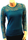 New Teal Ladies Vintage style Retro Pin-up Lace long sleeve Sweater Jumper Top