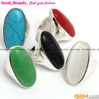 New 16x36mm Oval Beads Tibetan Silver Fashion Ring Size US #6-#9 ,6 Materials
