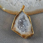 Amazing Natural Agate Druzy Pendant Electroformed Gemstone Golden HG0503