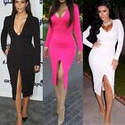 3 Colors Long Sleeve Split Dress V Neck M-XXL Bodycon Sexy Women