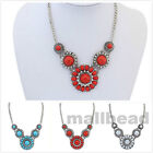 Women Vintage Crystal Pendant Chain Flowers Choker Chunky Bib Statement Necklace