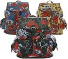 LADIES FAUX LEATHER SKULL ROSES BACKPACK SCHOOL RUCKSACK COLLEGE SHOULDER BAG