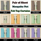 10 Colors - PAIR of Sheer MOSQUITO NET Tab Top Curtains fits 150 to 240cm Wide
