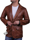 Mens Black And Tan Italian Leather Blazer Jacket 100% Genuine Leather BNWT