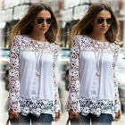 Womens Casual Long Sleeve Shirt Lace Crochet Emboriey Loose Tops Blouse  M-XXL