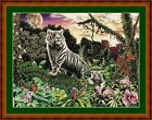 TIGER AT TWILIGHT - 14 COUNT X STITCH CHART (DMC THREADS) FREE PP WORLDWIDE