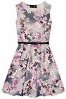 Girls Floral Print Belted Skater Dress Kids Summer Party Dresses Age 7-13 Years