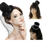 3 Types Lady Women Gothic Style Retro Pillbox Fascinator Hat Black/Red Headpiece
