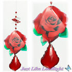 Red Rose Crystal Suncatcher gift with 50mm pendant & octagon beads crystals