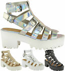 Ladies Womens Cut Out Gladiator Chunky Heel Strappy Platform Sandals Shoes Size