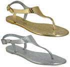 Ladies Flat Toe Post Jelly Jellies Buckle Womens Beach Summer Sandals Shoes Size