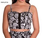 HELL BUNNY Bandeau Crop Top 50s ARCADIA Bralet Black/White All Sizes