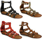 NEW WOMENS LADIES STRAP BUCKLE LOW WEDGE HEEL GLADIATOR SUMMER SANDALS SHOE SIZE