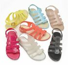 Ladies Girls Beach Summer Retro Jelly Buckle Flip Flop Womens Sandals Shoes Size