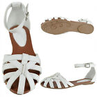 Womens Faux Leather Ankle Strap Closed Toe D'Orsay Flat Sandals White